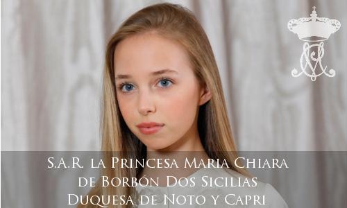 S.A.R. la Princesa Maria Chiara de Borbón Dos Sicilias, Duquesa de Noto y Capri